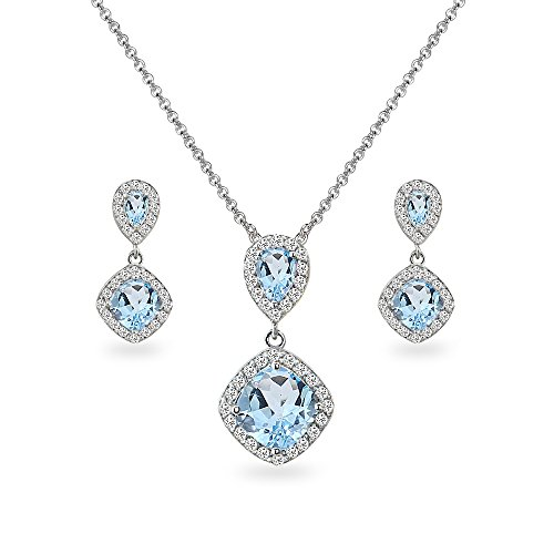 (Sterling Silver Blue Topaz & White Topaz Dangle Earrings & Necklace Set)
