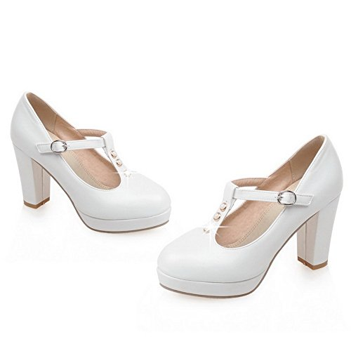 VogueZone009 Women's Solid PU High-Heels Round Closed Toe Buckle Pumps-Shoes White h8l8ueW