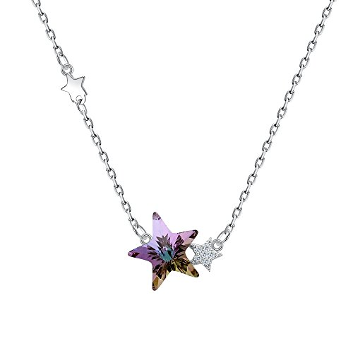 BriLove Women 925 Sterling Silver Twinkle Little Star Pendant Necklace Adorned with Swarovski Crystals Vitrail Light Goddess Star Necklace