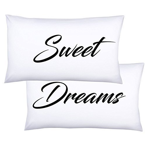 HappyHugs Peach Microfiber Queen Pillowcase Sweet Dreams, 20 by 30 Inches, Set of 2 (Sew Envelope Pillow)