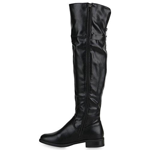 Stiefelparadies Damen Stiefel Overknees mit Blockabsatz Nieten Zipper Flandell Schwarz