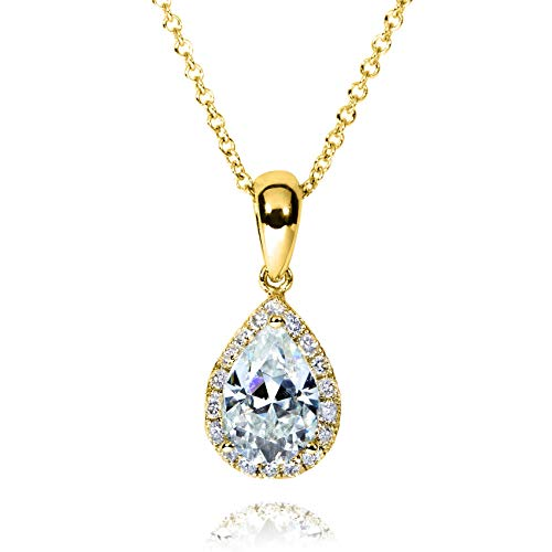 14k Pear Shape - Pear-Shape Moissanite (8mm x 5mm) & Diamond Necklace in 14K Gold, Yellow Gold