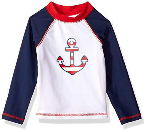 Little Me Children's Baby and Toddler Boys UPF 50+ Long Sleeve Rashguard Swim Shirt, Medieval Blue/Chinese Red/Anchors, 4T ()