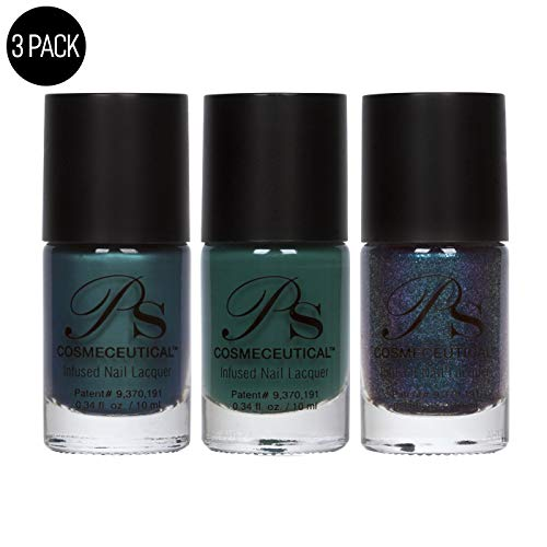 (PS Polish Jewel Collection Nail Polish for Women - Long Lasting Cruelty Free Nail Enamel - High Quality Boutique Nail Lacquer - Emerald, Alexandrite, Sapphire - 3 Pack Set, 0.34 Fl.Oz, MSRP $44.97)