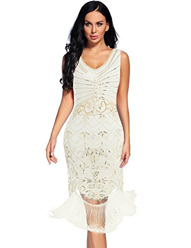 Women's Vintage 1920s Sequin Floral Midi Gatsby Flapper Prom Club Dress(White,XXL) ()
