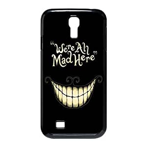 Alice in Wonderland We're all mad here Cheshire Cat Smile Face Unique Durable Hard Plastic Case Cover for SamSung Galaxy S4 I9500 Custom Design Fashion DIY (S4 9500, Multi-color)