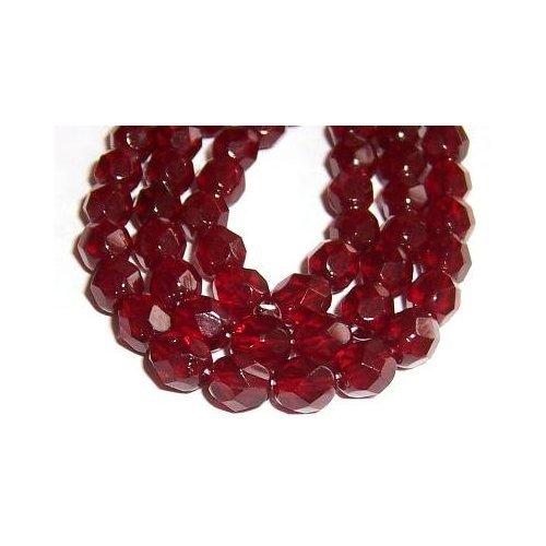 8mm Fire Polish Round Czech Glass Beads - Garnet Red Faceted (25)