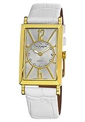 Akribos XXIV Women's AK543WT Essential Rectangular Stainless Steel Diamond Strap Watch