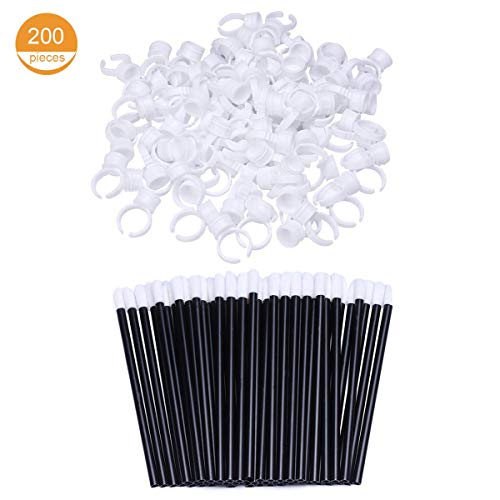 (100 Glue Holder Rings Cup for Tattoo and Eyelash Extension and 100 Lip Gloss Wands Lipstick Brush Applicator for Makeup)