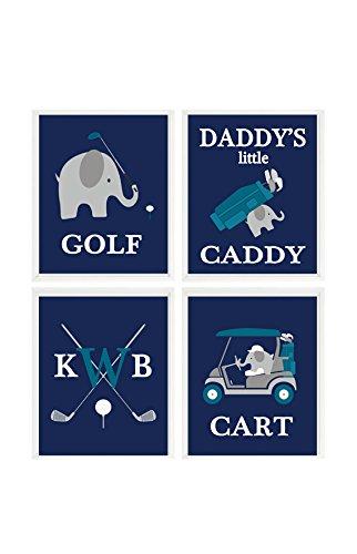 elephant-golf-nursery-golf-wall-art-daddys-little-caddy-personalized-wall-art-teal-navy-blue-golf-nu