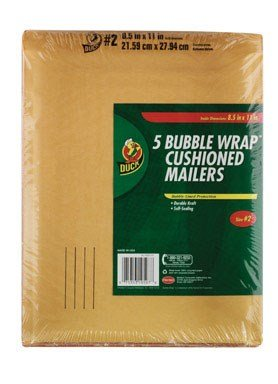 Duck Brand Kraft Bubble Mailers, 2-8.5 x 11 Inches, 5-Pack (284692)