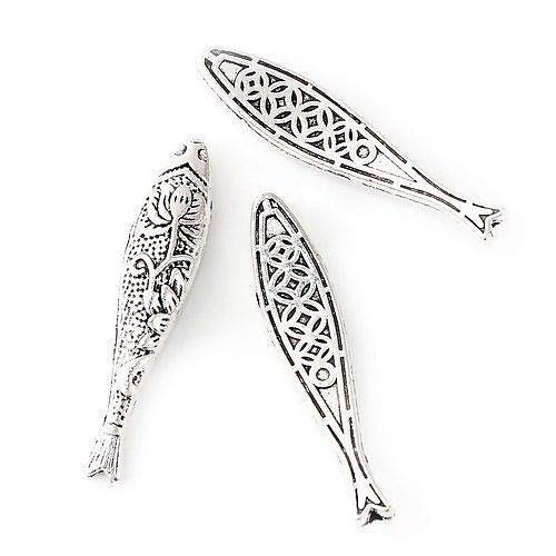 (Pendant Jewelry Making 5 Tibetan Silver Long 43x9mm Hollow Curved Christian Fish Filigree Spacer Beads)