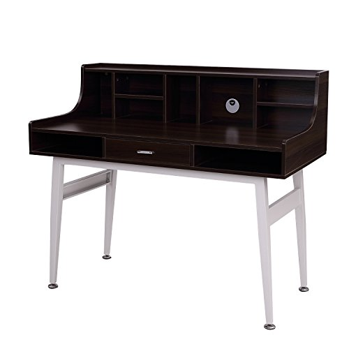 HomCom 48' Mid-Century Modern Secretary Desk - Brown/White