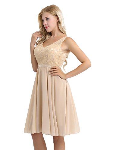 Party Lace V Neck Bridesmaid Prom Floral Champagne Dress iiniim Dress Short Women qIEwanSx1
