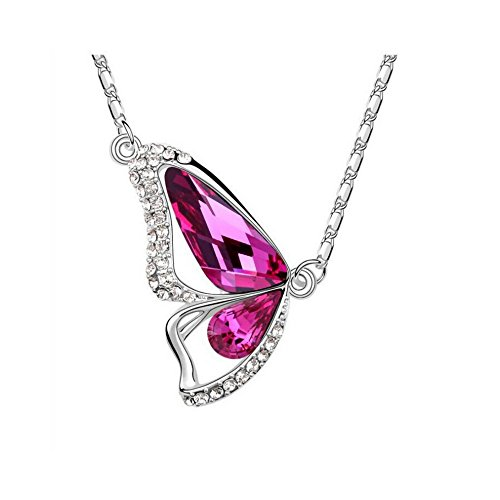The Starry Night 18k Silver Plated Butterfly Diamond Accented Purplish Red Crystal Pendant Necklace