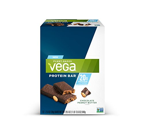 Vega 20g Protein Bar Chocolate Peanut Butter (12 Count) – Plant Based Vegan protein, Non Dairy, Gluten Free, Non GMO For Sale