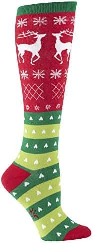 Sock It To Me, Knee High Funky Socks: Seasons Greetings - Christmas Holiday