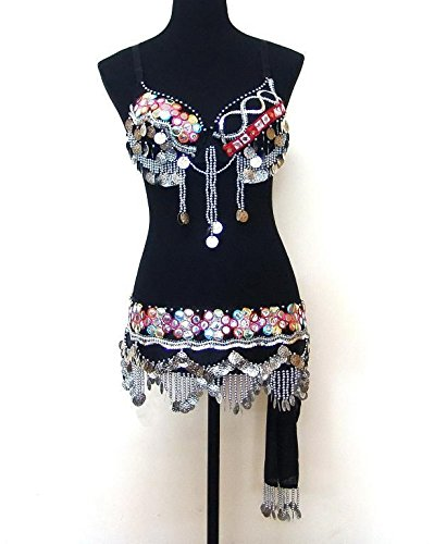 Professional Belly Dance Dangling Coin Bra Top & Belt Set --36A/B by Belly Dance Costume
