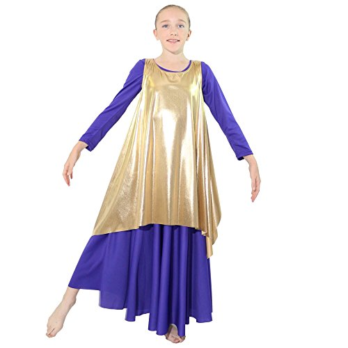 Danzcue Girls Celebration of Spirit Dance Drapey Tunic Tank Pullover, Gold, L/XL -