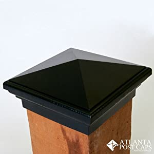 6x6 Post Cap (Nominal) - Black Pyramid Top (Case of 14) - With 10 Year Warranty