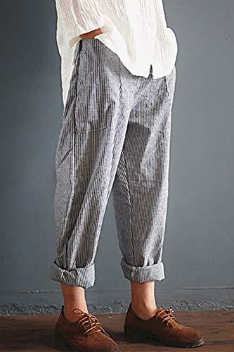 Affusolato Harem Le Pants Casaul Pantaloni Grey Nero Lungo Lino Strisce 6nq5na0
