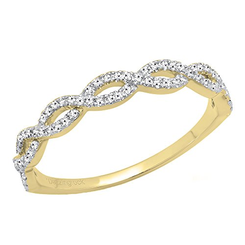 (Dazzlingrock Collection 0.20 Carat (ctw) 10K Diamond Swirl Anniversary Wedding Band Stackable Ring 1/5 CT, Yellow Gold, Size 6)