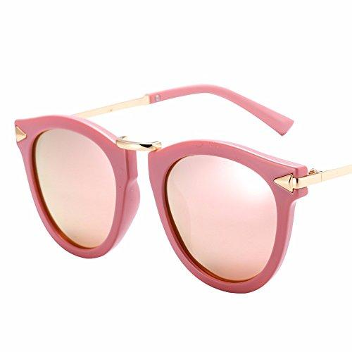 de Retro brillo gafas azul de brillo espejo sol alto fuera de Rosa Metal redondo las personalidad de XIAOGEGE sol alto gafas de UnWw4dqUY