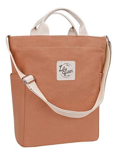 Lily Queen Women Canvas Tote Handbags Casual Shoulder Work Bag Crossbody (Brown Sugar) (Best Everyday Tote Bag)