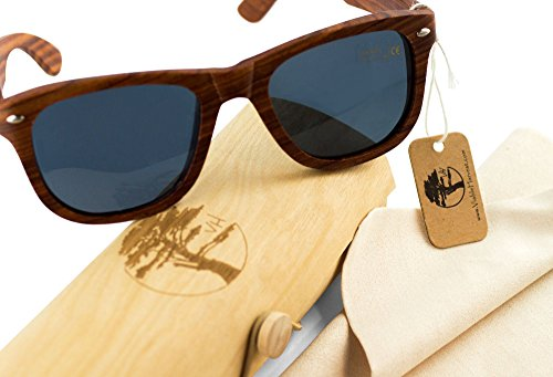 Real Solid Handmade Wooden Sunglasses for Men, Polarized Lenses with Gift Box 4 QUALITY YOU CAN DEPEND ON. Each and every pair of our sunglasses are unique, hand-selected and packaged in the USA. We care about our customers. Not satisfied? Let us know. We'll do our best to make it right. YOUR EYES ARE IMPORTANT! Premium UV400 polarized sunglasses that reduce the glare reflected off roads, water, snow, and other surfaces. Designed to provide long lasting protection for your eyes. PERFECT GIFT FOR YOURSELF OR THAT SPECIAL SOMEONE. Whether it's a birthday, anniversary, Valentine's Day, Father's Day, Graduation, or Christmas, our sunglasses make a fantastic gift. Another bonus? We've included a great looking gift box and microfiber cleaning cloth.