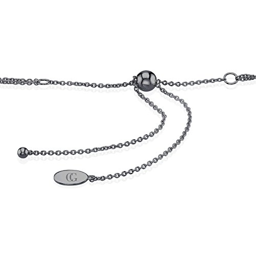CHARLIZE GADBOIS Sterling Silver Diamond Disk Bracelet (0.055 cttw, I1-I2 Clarity) Gunmetal Nano Coated by Gadbois Jewelry (Image #2)
