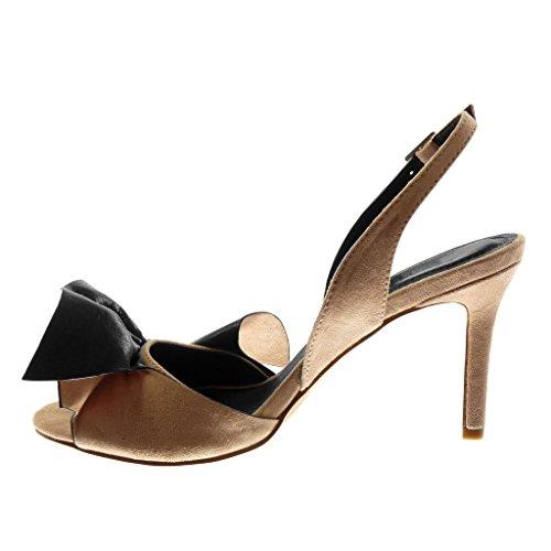 Angkorly Damen Schuhe Pumpe - Dekollete - Open-Back - Bi-Material - mit Rüschen - Schleife - String Tanga Stiletto High Heel 9 cm Rosa