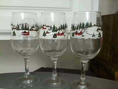3 Wine Glasses: Winter Wonder Land Theme (Rimmed with Snow, Houses, -