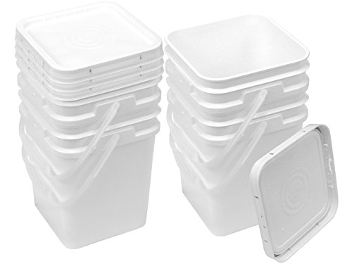 Square Bucket Kit, Four 4-Gallon Buckets and Four White Snap-on Lids with Gaskets]()