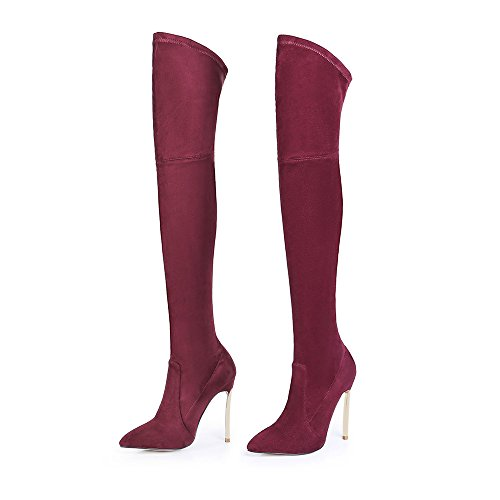 Thigh High Pointed Boots Heel Suede Over Knee Wine High Tale Faux Stiletto Shoe'N Snow The high Women's qwv7Z81