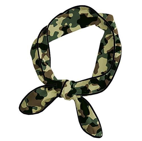 (DOLASUN Classic Women Hair Scarf for Daily Beauty Yoga Sports Fitness, Military Camouflage Neckerchief Headband)