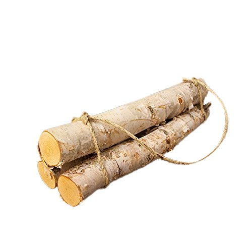 Natural Birch Logs, 3 Log Fireplace Bundle, Roped Wood, Centerpiece Display, Woodland Chic, 18 inches Long X 5-7 Inch Diameter - Weathered Pine Log Set