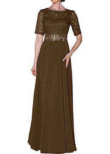 Royal Brautmutterkleider Damen Abendkleider mit Charmant Partykleider Spitze Festliche Braun Damen Blau Kurzarm q85WHwI