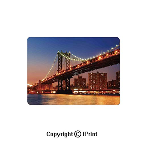 Gaming Mouse Pads, Manhattan Bridge with Night Lights Over Hudson River Brooklyn Popular Town Image Non Slip Rubber Mousepad,7.1x8.7 inch,Blue Orange