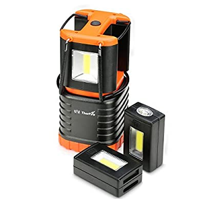 ThorFire LED Camping Lantern Features 2 Detachable Mini Handy Flashlight Torch Light Lamp Perfect for Camping Hiking Outdoor Use or in Emergency -CL06