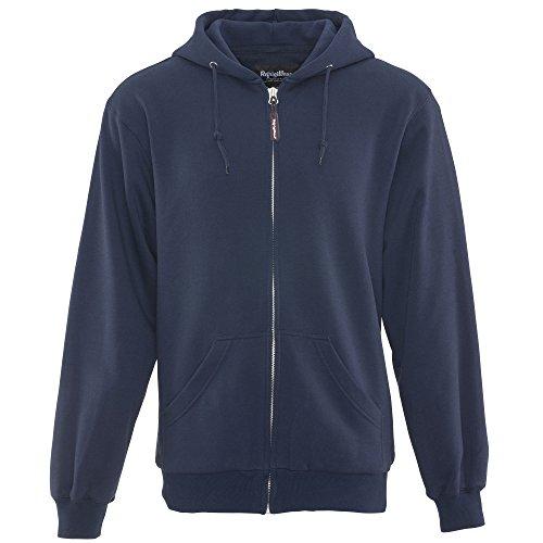 Thermal Lined Hoody - RefrigiWear Men's Thermal Knit Lined Hoodie - Warm Hooded Zip-Up Sweatshirt (Navy Blue, XL)