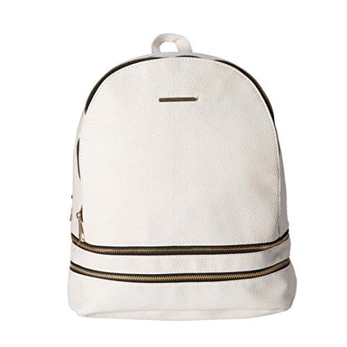 Fabal Preppy Style Rucksack Women Shopping Backpacks Ladies Famous Designer Travel Bag (White)