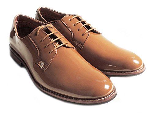 NEW MENS LACE UP PATENT OXFORDS CLASSIC LEATHER LINED DRESS SHOES FORMAL BROWN M19517PL YoG6k9hj