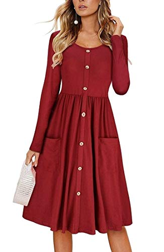 Wine Red Women's Dress Length Knee Cocktail Button Pleated Empire Swing Waist ainr vPg6HBB