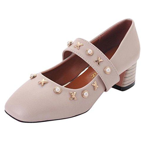 LHWY Sandalen Damen Zehentrenner Frauen Knöchelriemen Low Heel Nachahmung Pearl Freizeitschuhe Platz Heel Peep-Toe Schuhe Beige Schwarz Beige