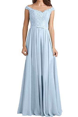 Himmelblau Spitzenkleid Elegant Damen Ivydressing Abendkleider Lang Brautjungfernkleider Rundkragen xf8WXR0