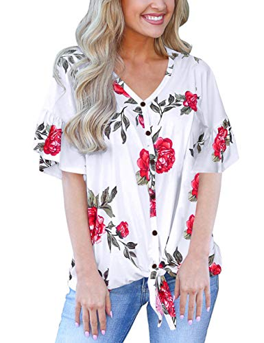 White Tops for Women Front Knot Short Sleeve Flower T Shirts Loose V Neck Blouses Henley XL ()