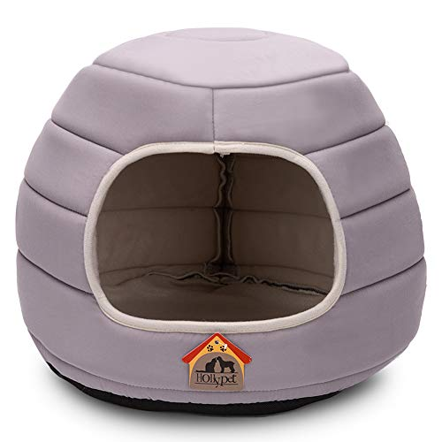 Hollypet Self-Warming 2 in 1 Foldable Cave Shape High Elastic Foam Pet Cat Bed for Cats and Small Dogs, 16 × 16 × 12.5…
