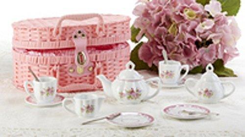 Delton Product Porcelain Tea Set in Basket Lavender and Roses