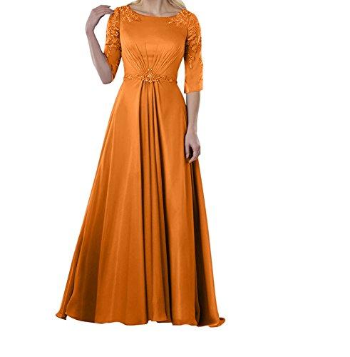 Abendkleider 4 Flieder mit Applikation Chiffon Langarm 3 Spitze Brautmutterkleider Charmant Orange Damen Ballkleider tpwqYTxnF