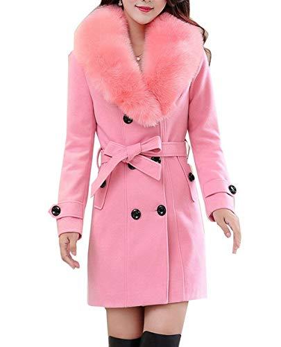 avec fourrure laine manches d'hiver à à survêtement manteau en manteaux de rose double épais en col veste boutonnage plus ajustée haute longues coupe femme manteau taille produit Targogo wBI8t5qPt
